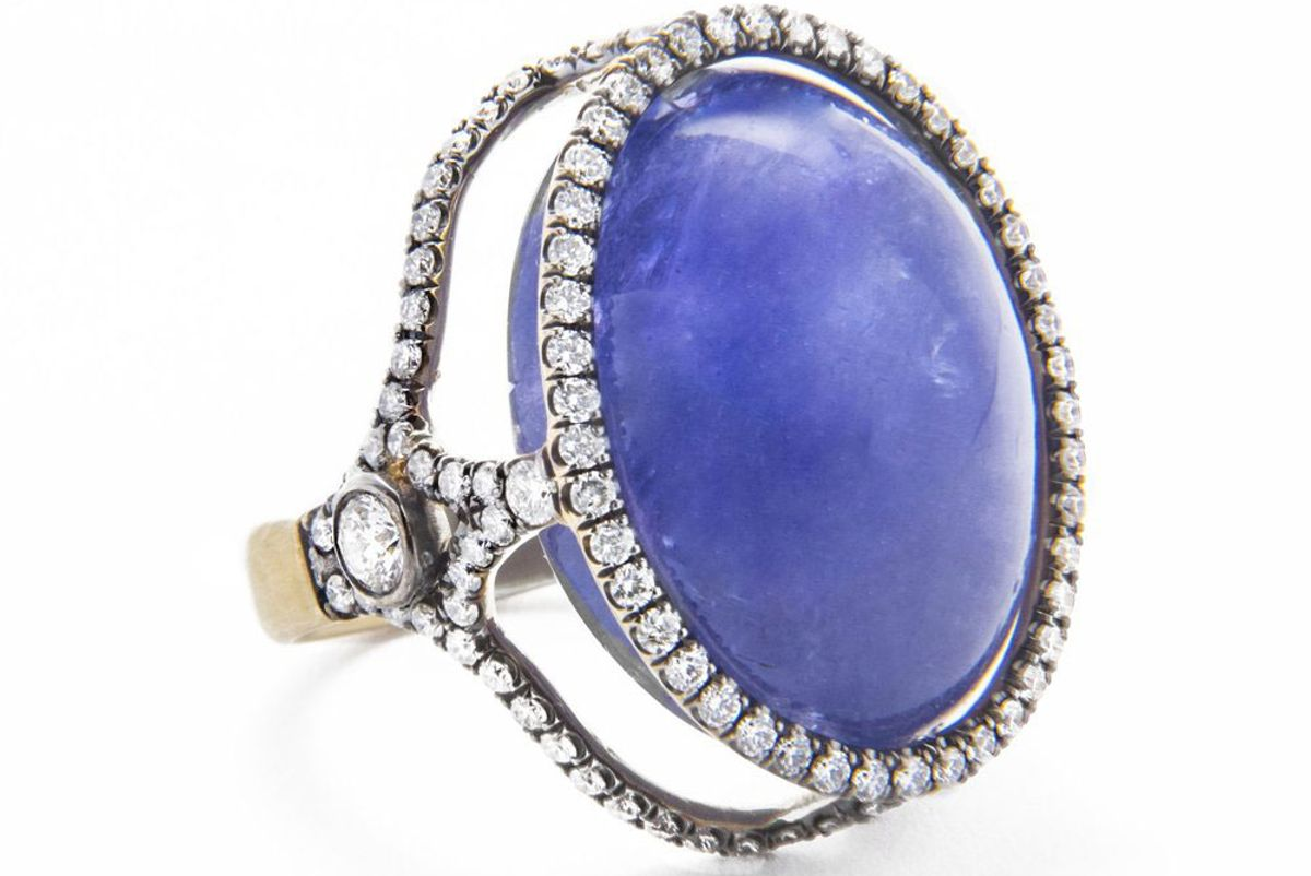 jordan alexander 18k gold and diamond caged tanzanite ring
