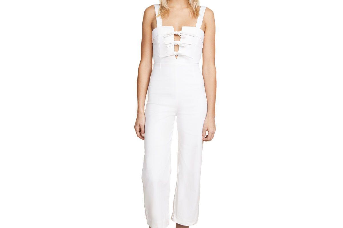 clayton white denim jumpsuit