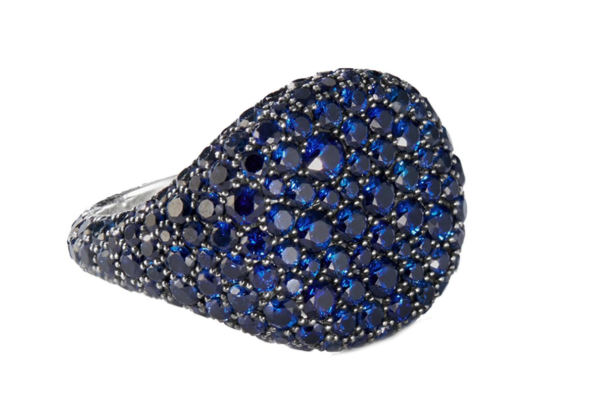 david yurman pave pinky ring with sapphires in 18k white gold