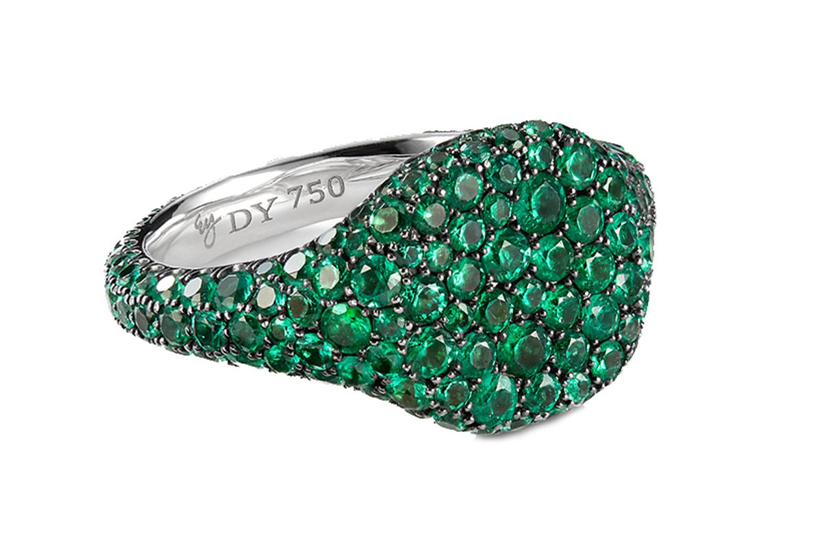 david yurman petite pave pinky ring with emeralds in 18k white gold