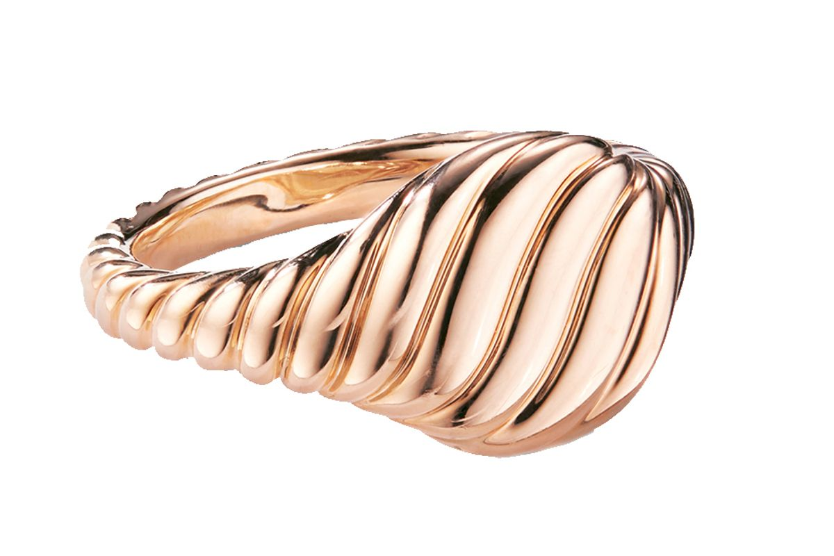 david yurman sculpted cable mini pinky ring in 18k rose gold
