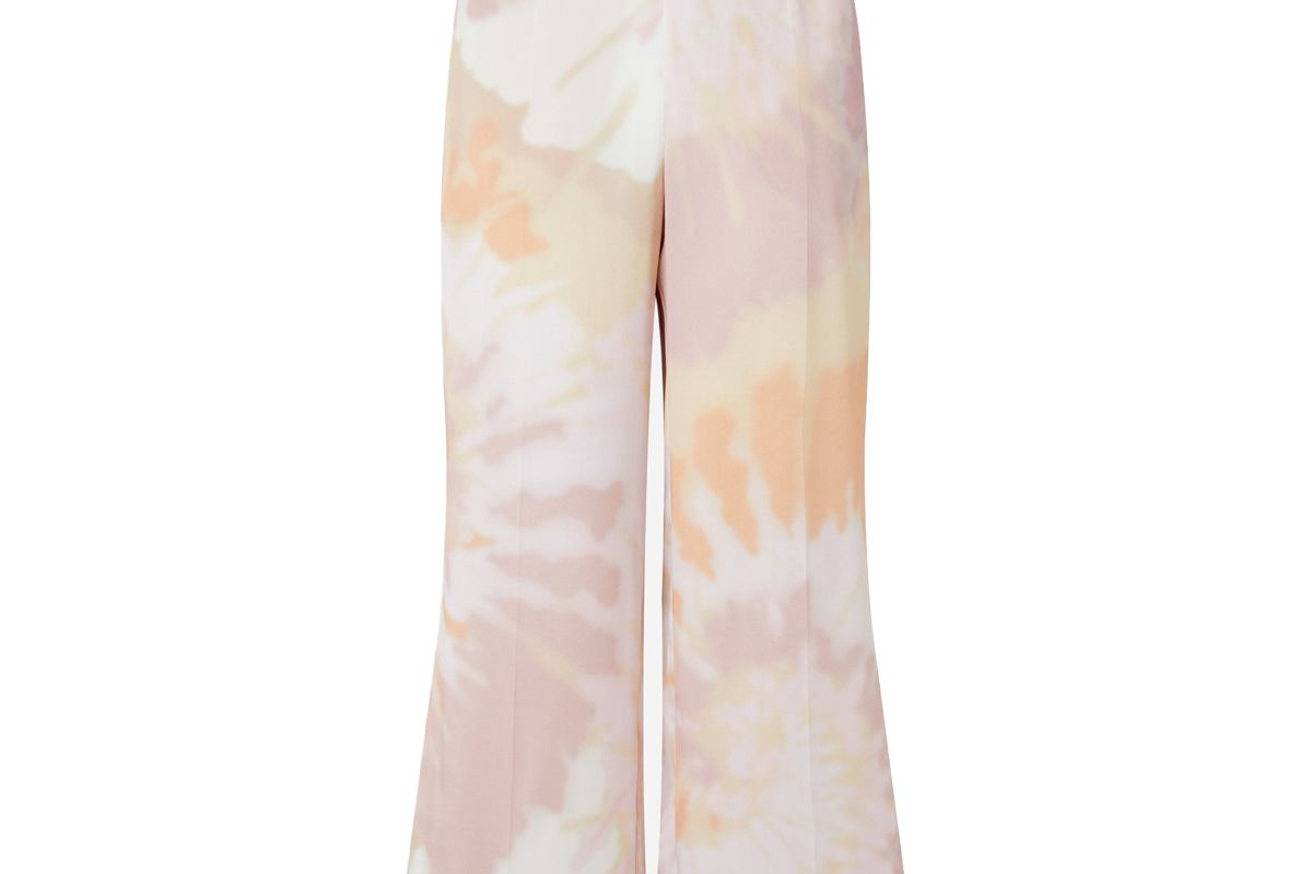 ralph and russo pink tie dye silk satin wide leg culotte trousers