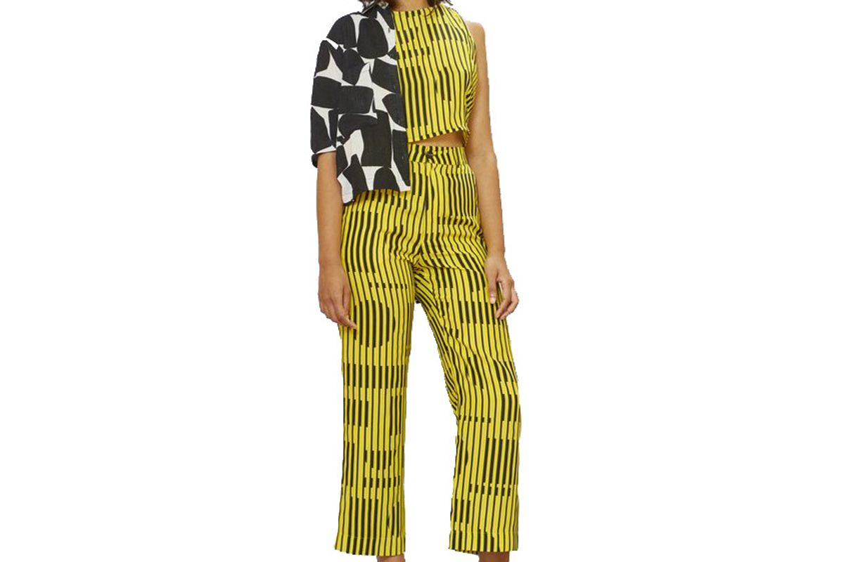 dusen dusen silk lounge pants in yellow blinds