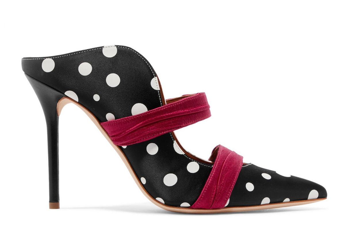 malone souliers emanuel ungaro maureen polka dot faille and satin mules