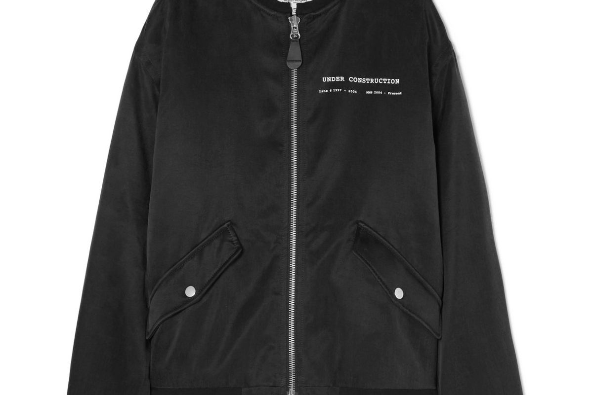 mm6 maison margiela printed satin bomber jacket