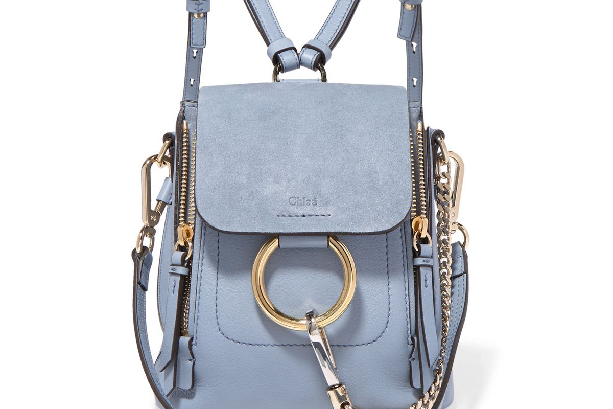 chloe faye mini textured leather and suede backpack