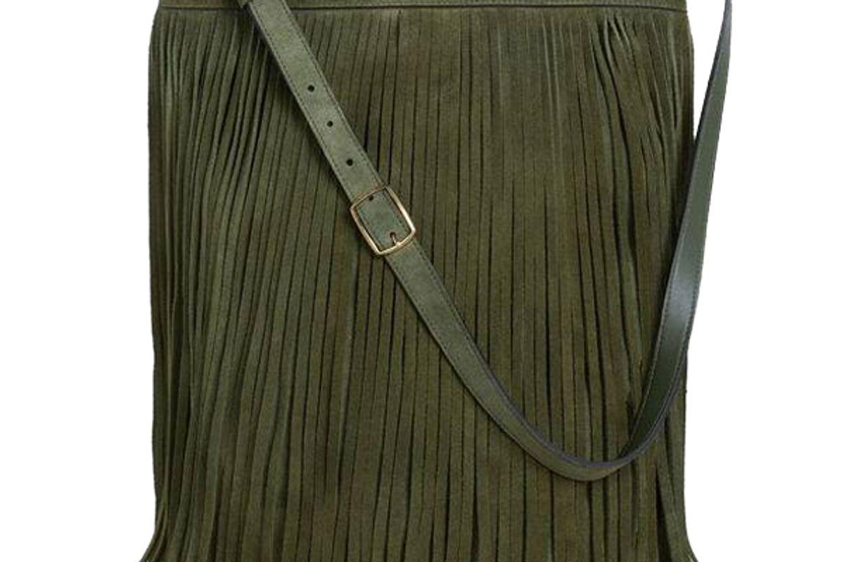 celine medium soft bucket bag with fringes in suede calfskin