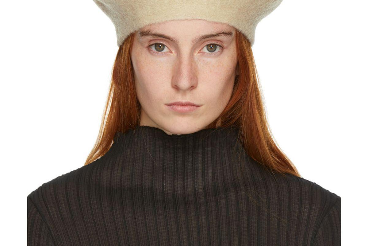 lauren manoogian beige horizontal beret