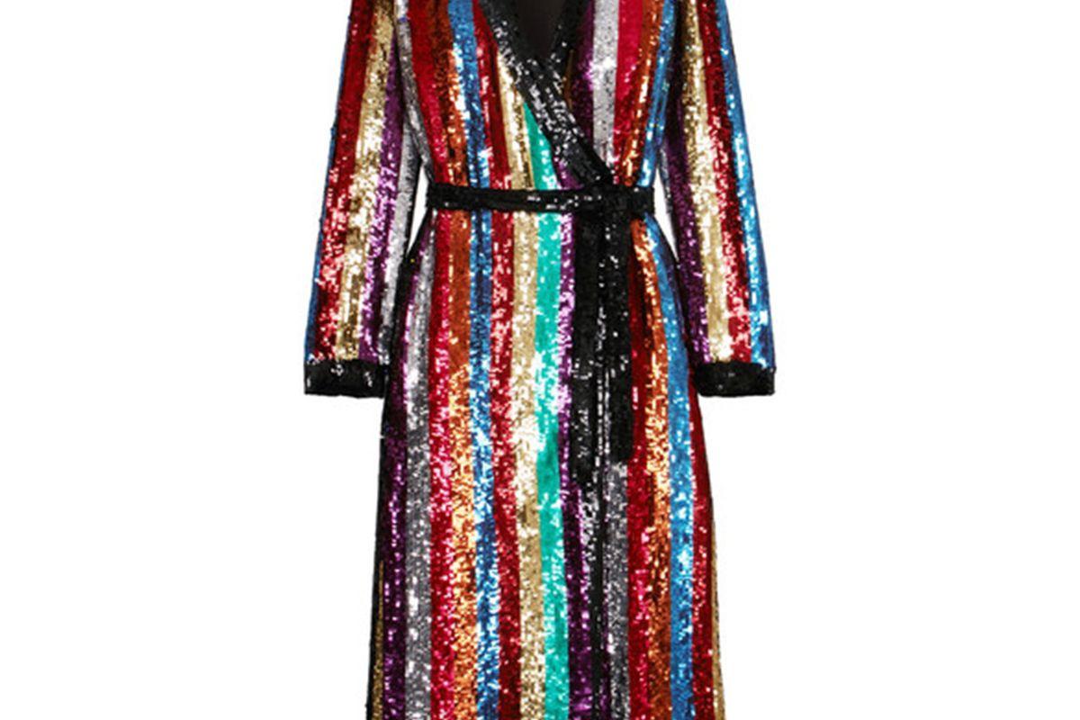 Attico Grace Striped Sequined Georgette Wrap Dress