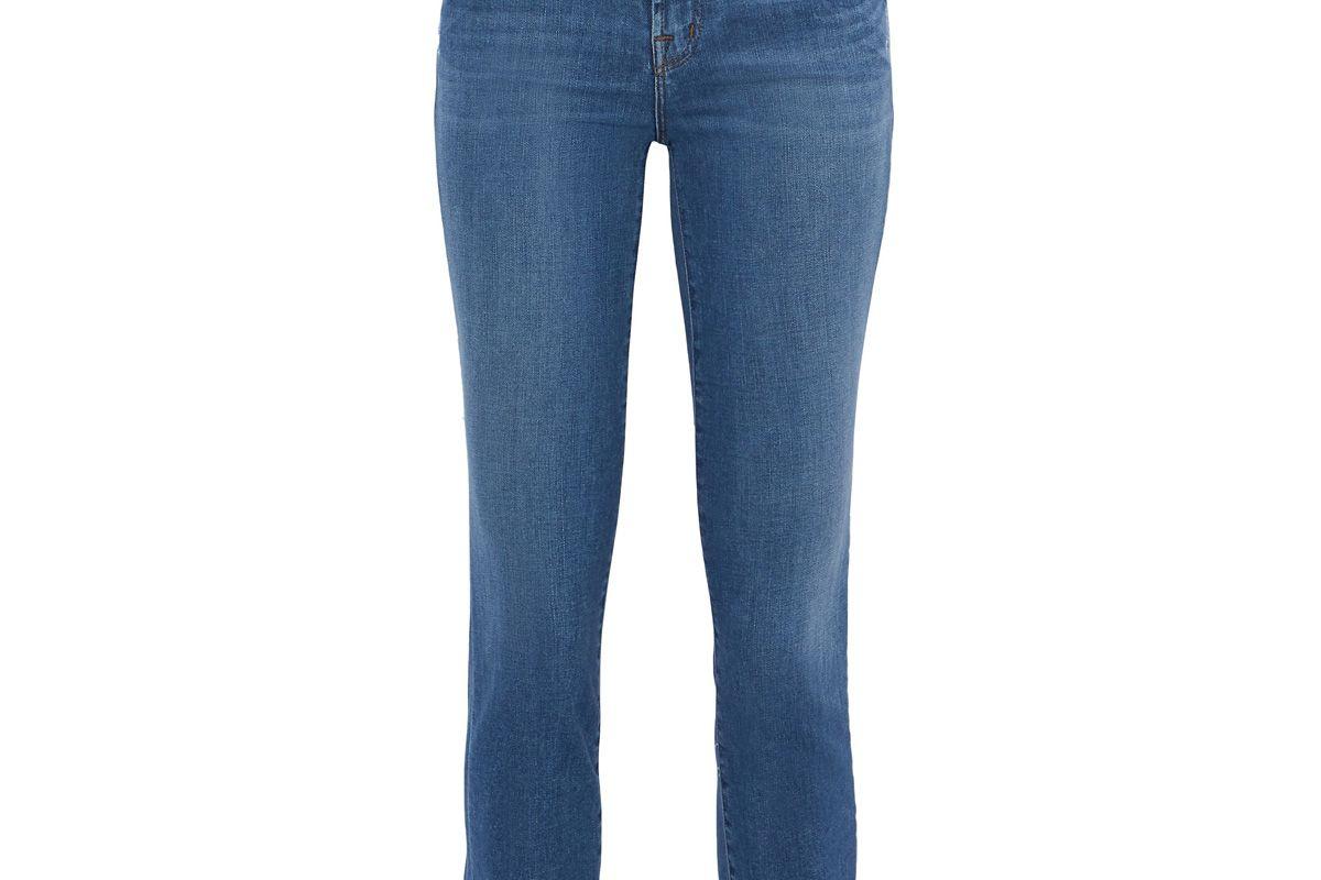 j brand cropped distressed mid rise slim leg jeans