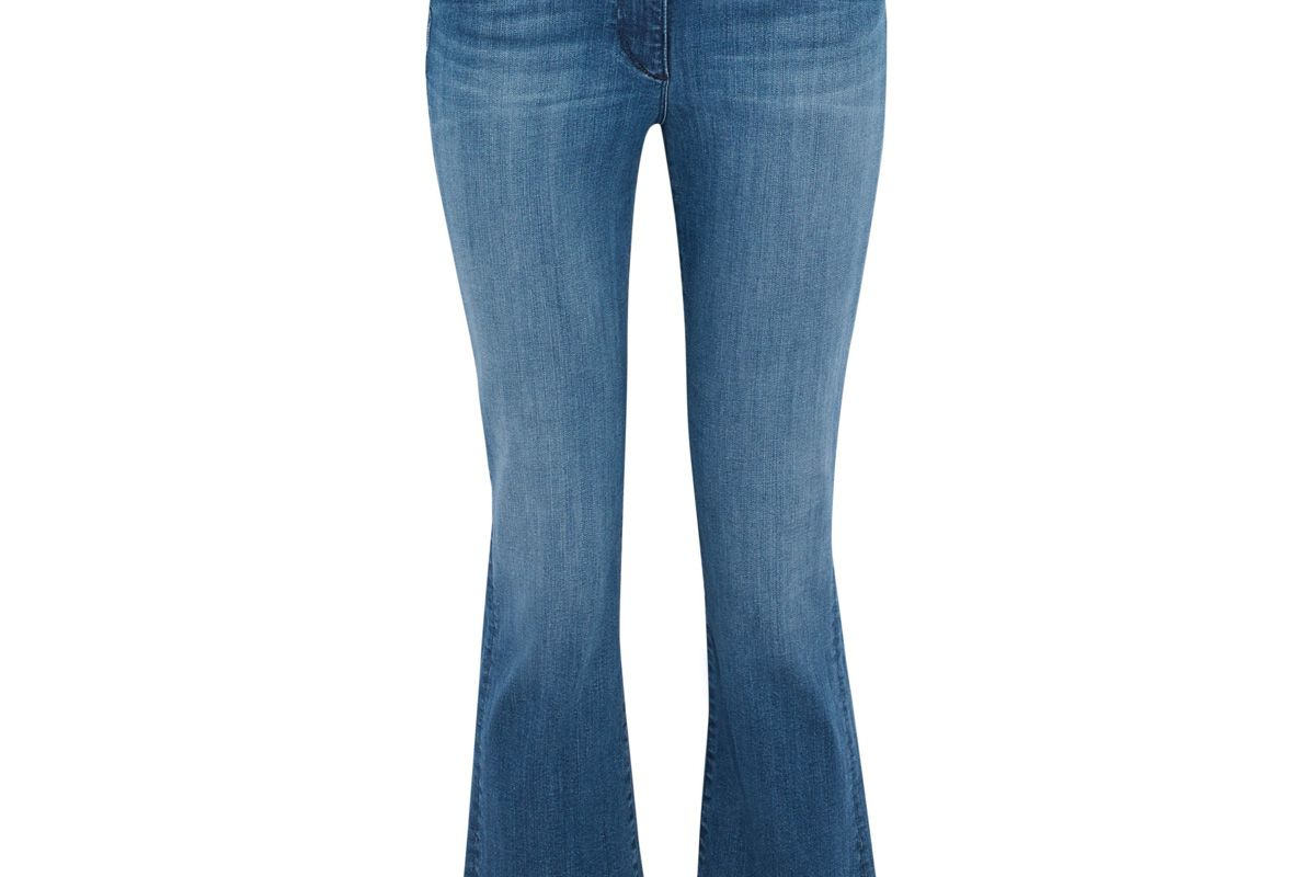 3x1 frayed mid rise kick flare jeans