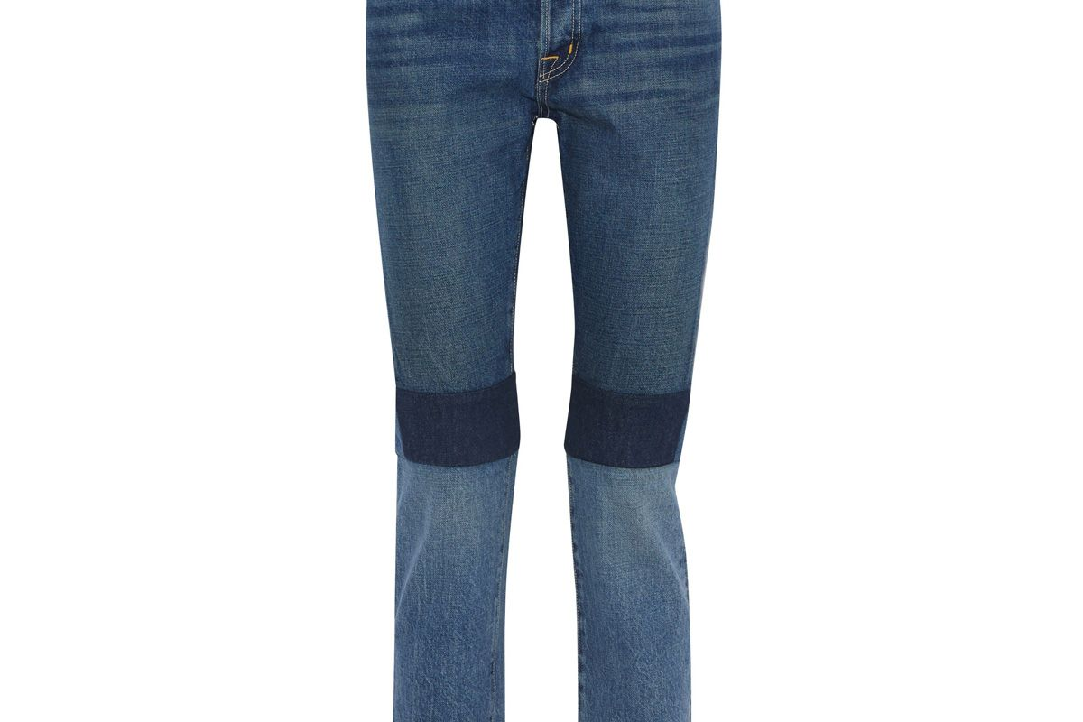 helmut lang cropped patchwork mid rise slim leg jeans