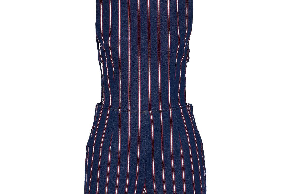 3x1 cutout striped denim playsuit
