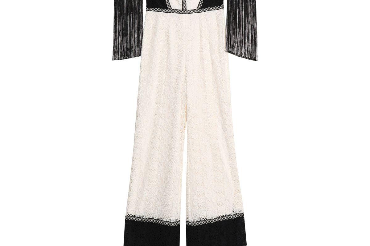 alexis off the shoulder fringe trimmed corded lace jumpsuit
