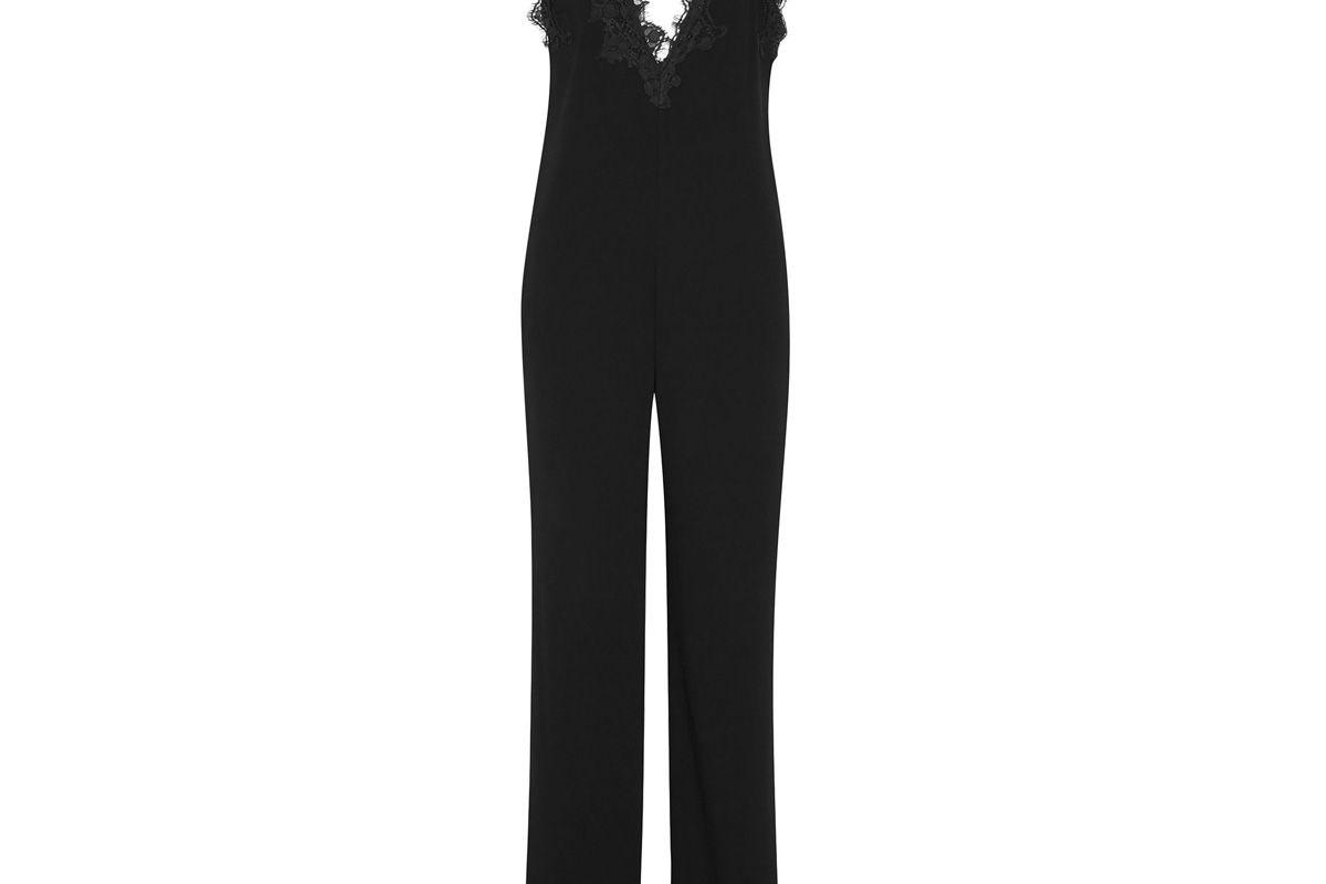 theory lace paneled crepe jumpsuit