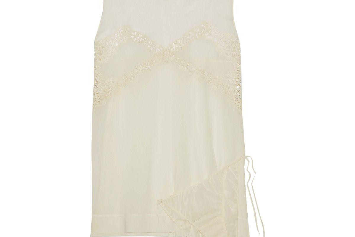 la perla guipure lace trimmed silk chiffon camisole and panty set