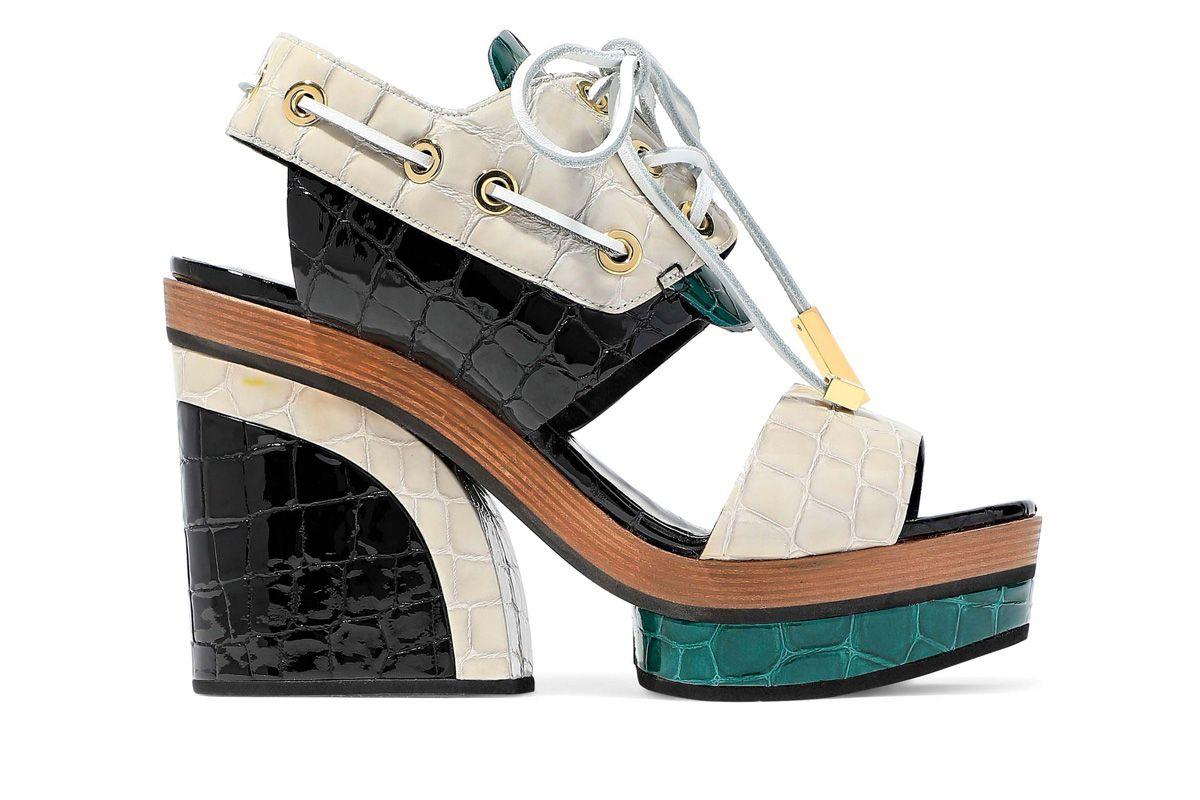 pierre hardy deer color block croc effect patent leather platform sandals