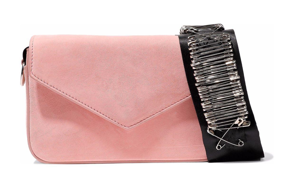 edie parker melissa embellished grosgrain trimmed suede shoulder bag