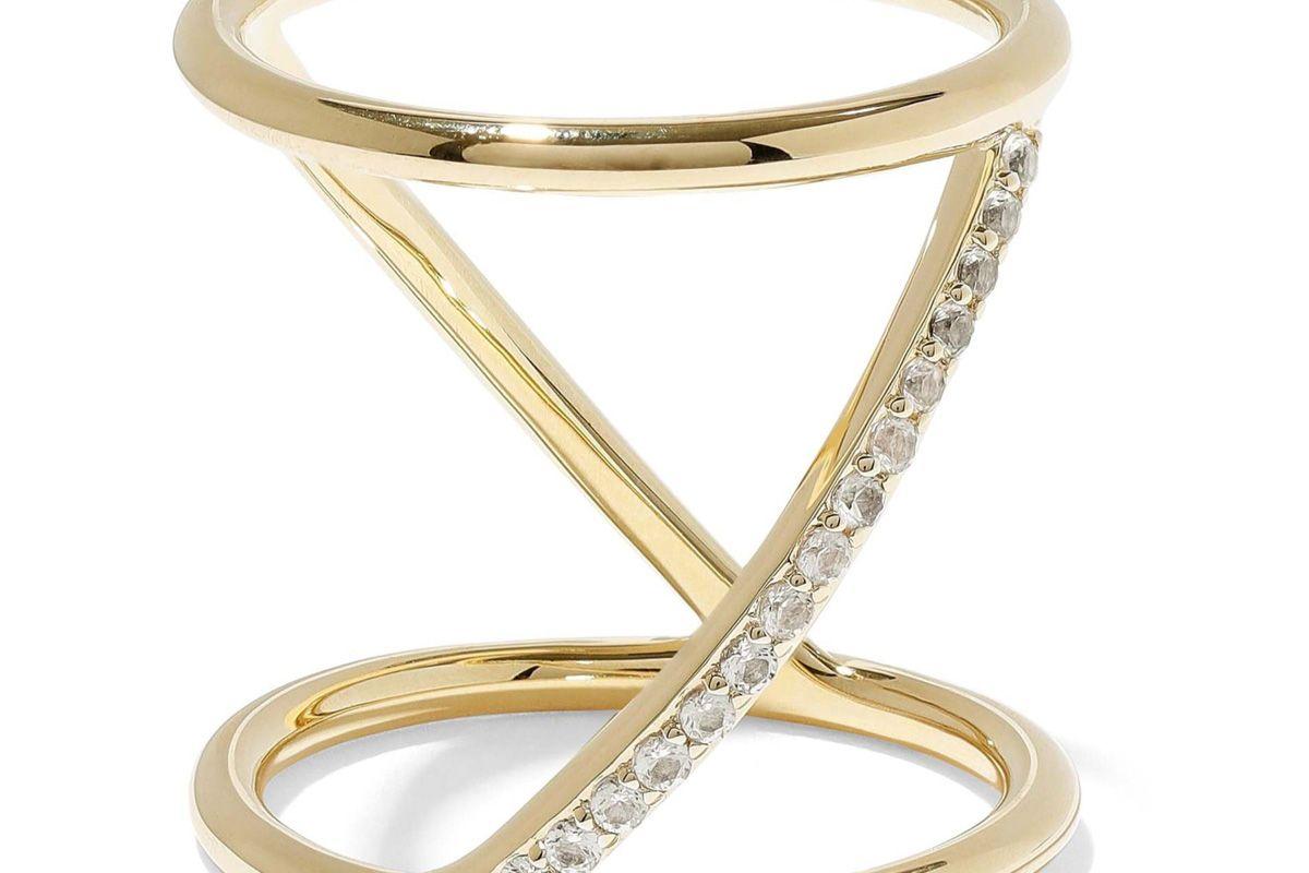 elizabeth and james gold tone crystal ring