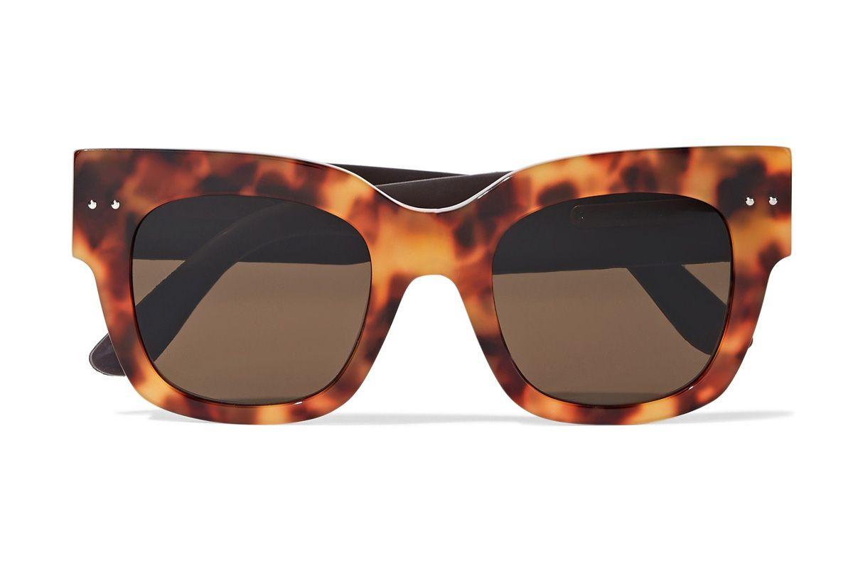 bottega veneta square frame tortoiseshell acetate and embossed leather sunglasses