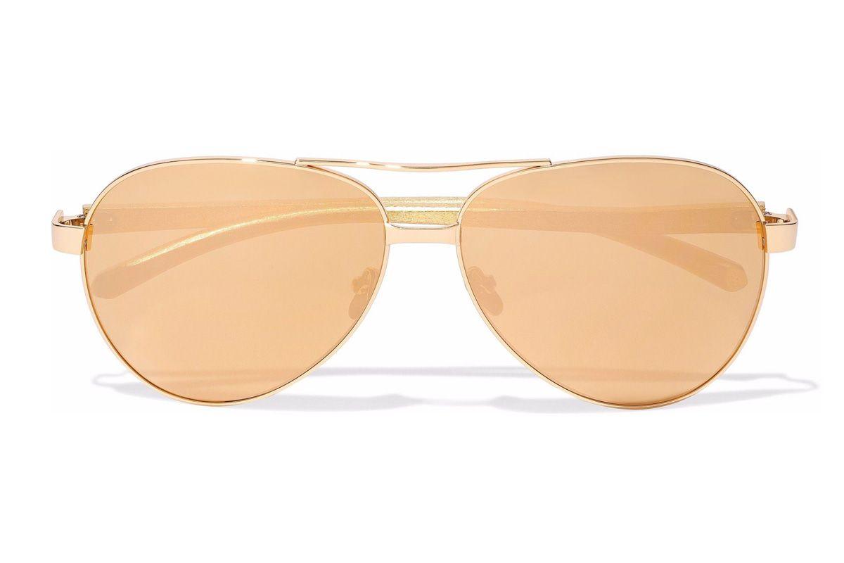 linda farrow aviator style gold tone mirrored sunglasses
