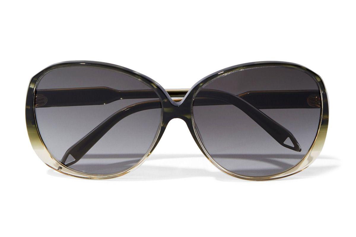 victoria beckham round frame acetate and gold tone sunglasses