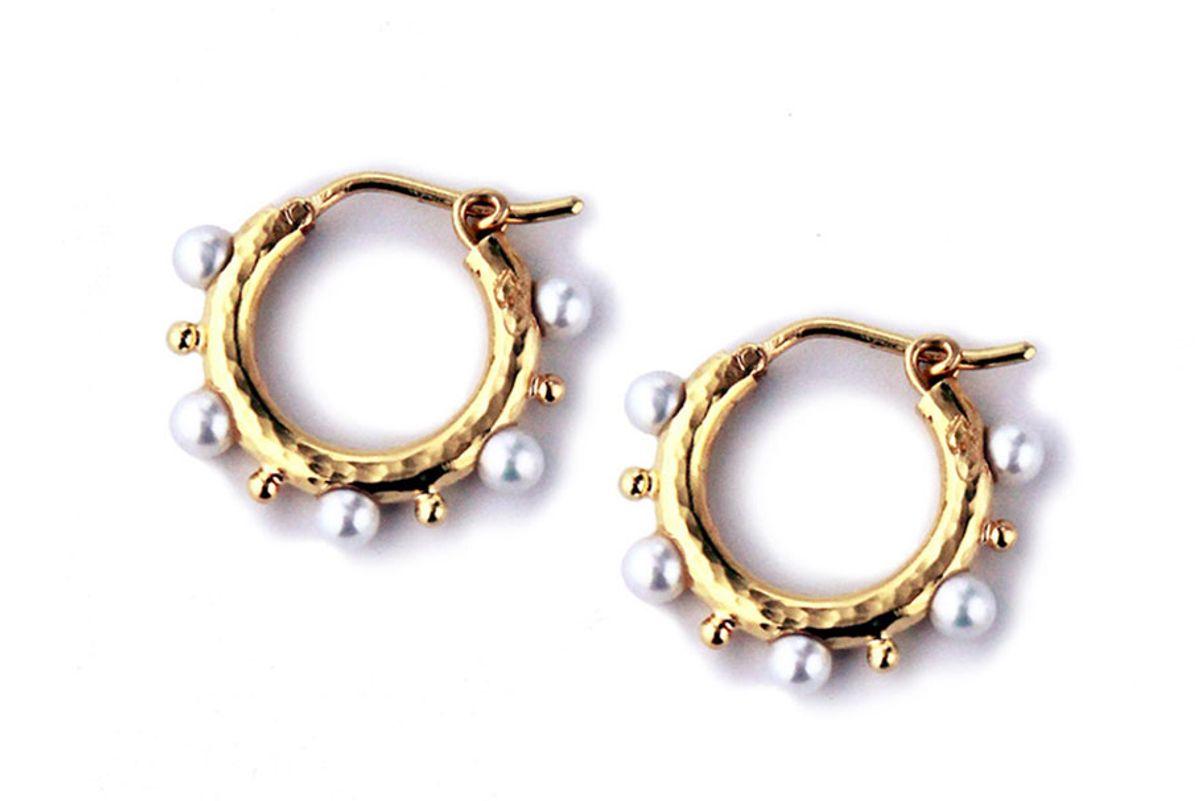 elizabeth locke big baby 19k gold and pearl hoop earrings