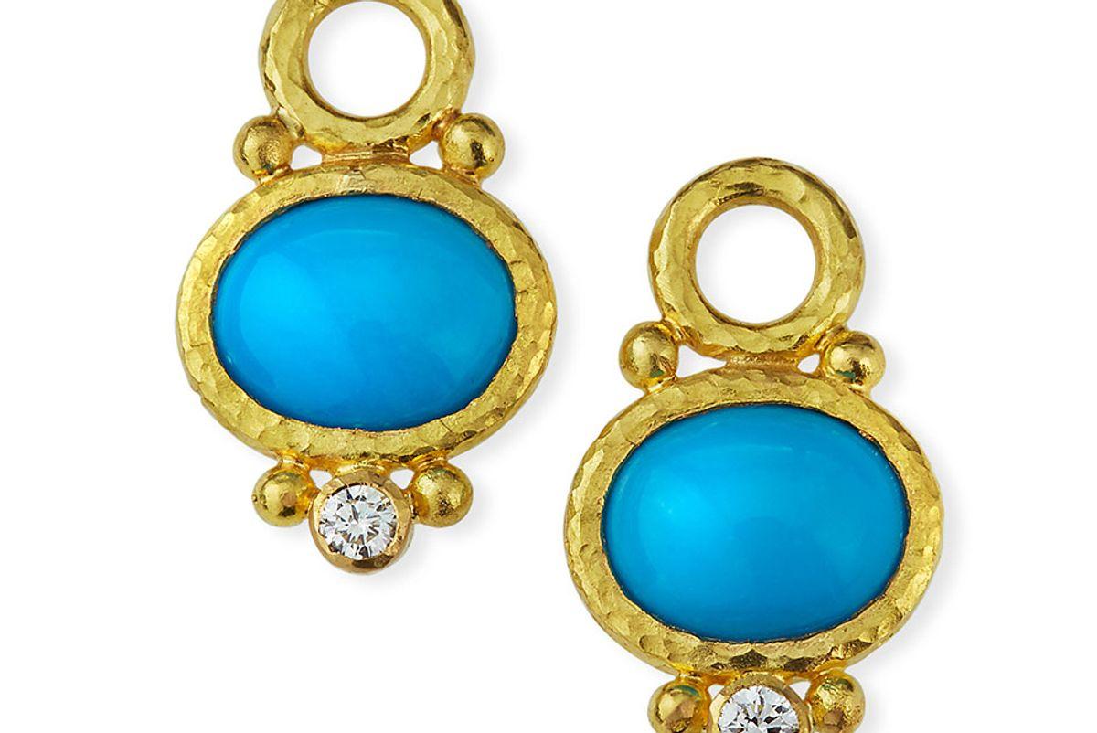 elizabeth locke 19k turquoise and diamond earring pendants