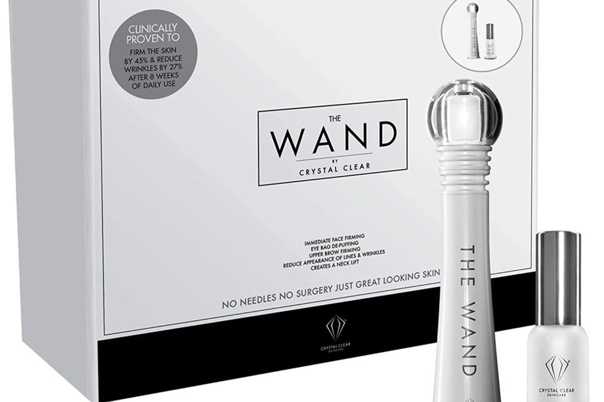 crystal clear the wand facial massager high frequency sonic wand anti wrinkle and depuffer facial tool and pharma grade hyaluronic acid serum