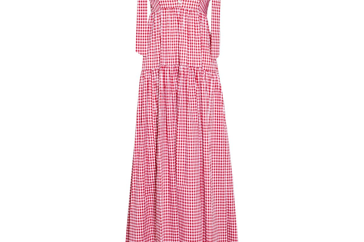 caroline constas elle gingham cotton poplin maxi dress