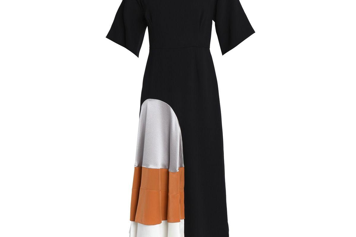 roksanda metallic cloque and satin paneled crepe midi dress