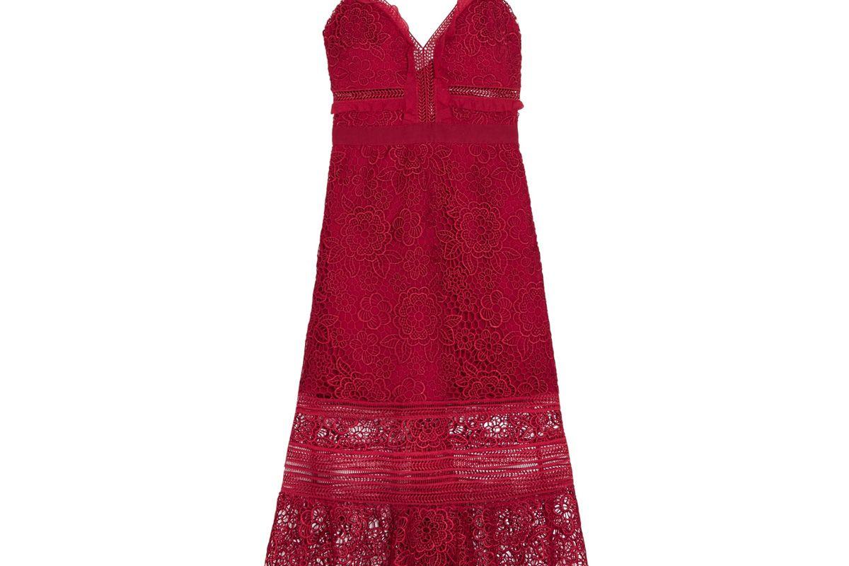 self portrait ruffled georgette trimmed guipure lace dress