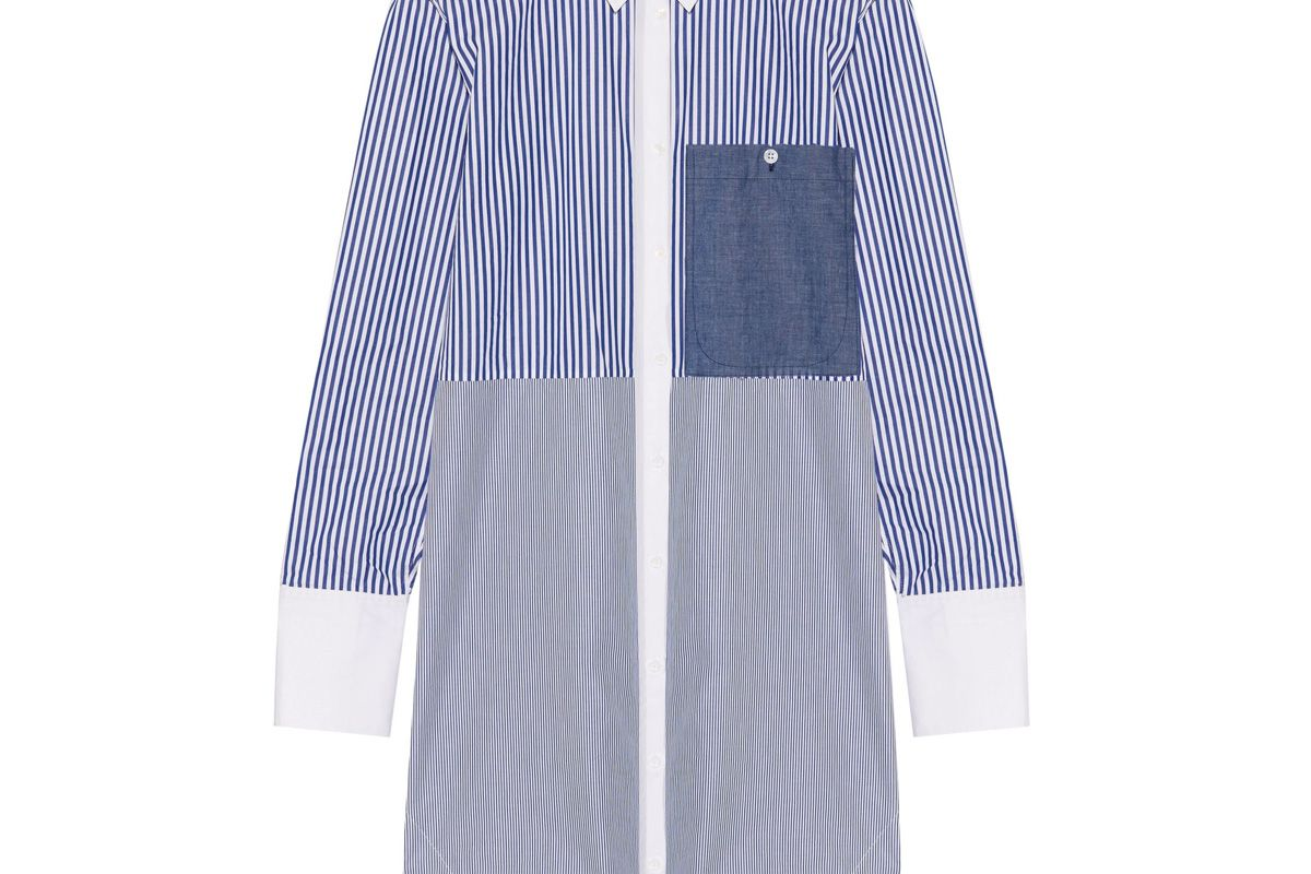 elizabeth and james jay striped cotton poplin mini shirt dress