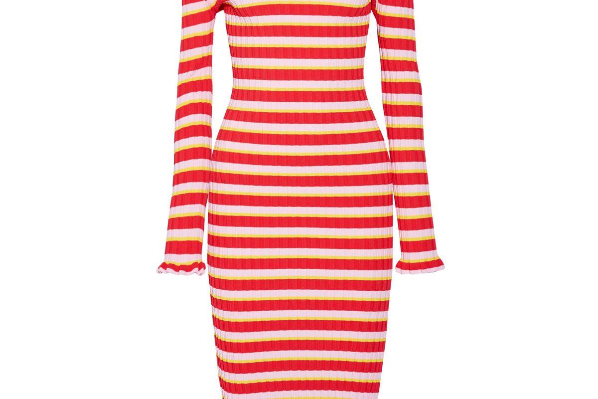 altuzarra socorro off the shoulder striped stretch knit dress