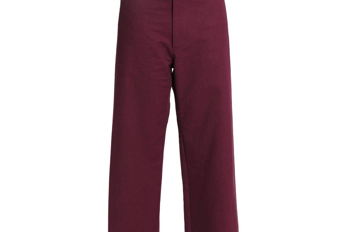 sea belted cotton blend canvas wide leg pants