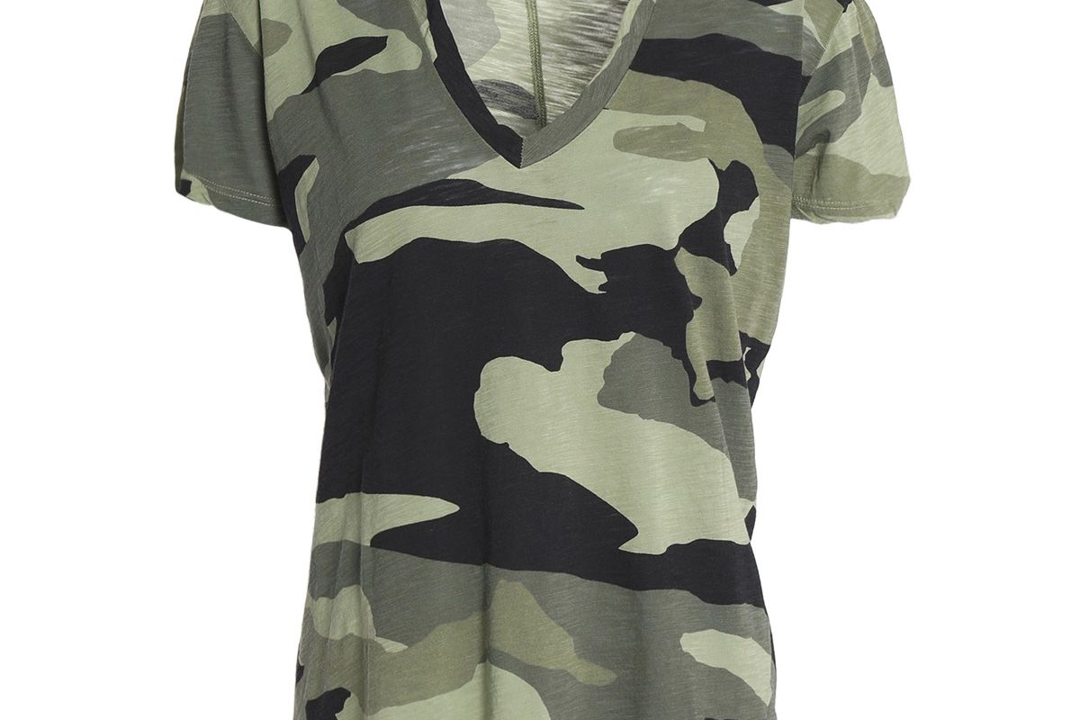 monrow printed slub cotton jersey t-shirt