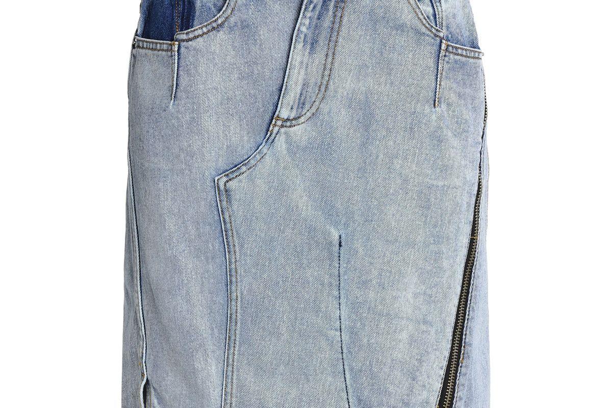 3.1 phillip lim asymmetric faded denim skirt