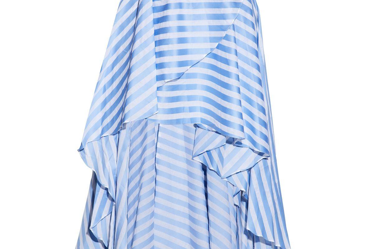 caroline constas asymmetric wrap effect striped cotton poplin skirt