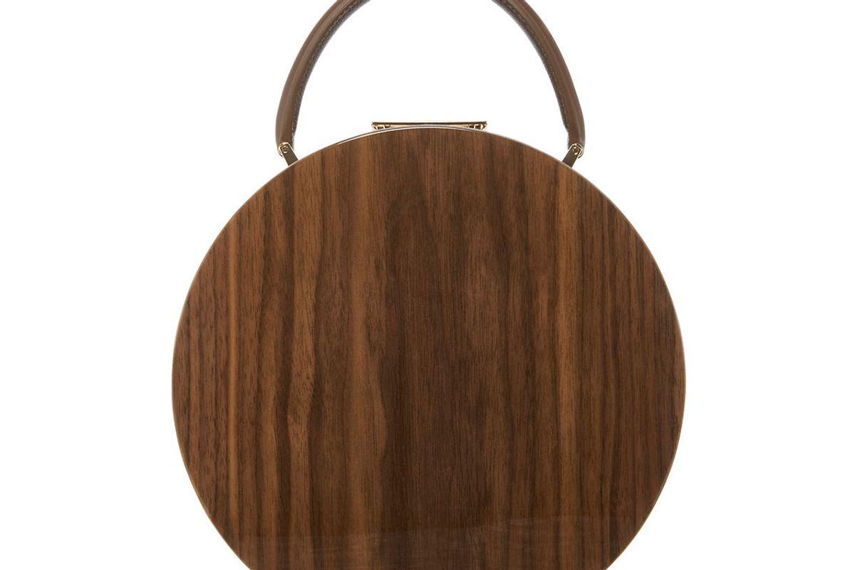 Walnut Wood & Chocolate Calf Leather Top Handle Bag