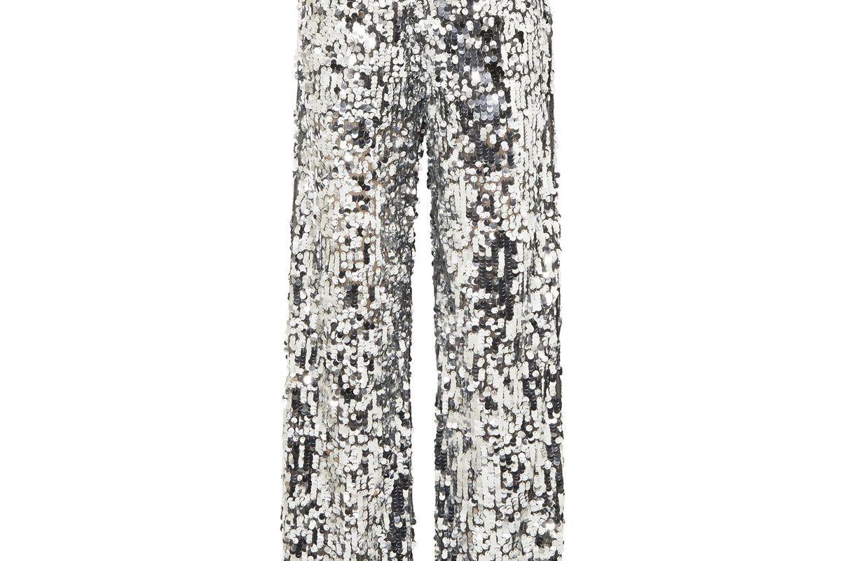 mm6 maison margiela paillete embellished tulle wide leg pants