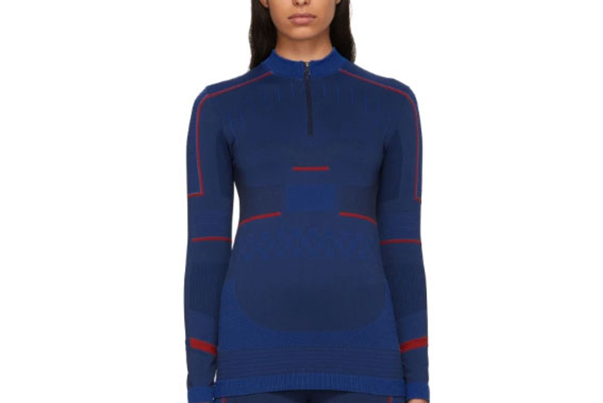 adidas by stella mccartney blue seamless zip up sweater