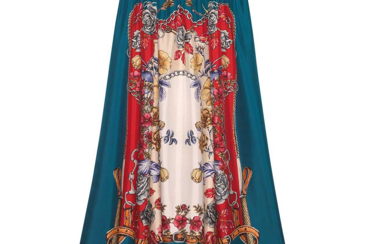 gucci silk skirt with boudoir print