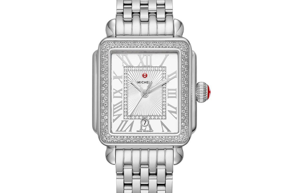 michele deco madison mid stainless steel diamond watch