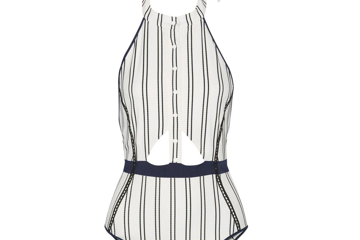 Cutout Striped Bonded Jersey Halterneck Swimsuit