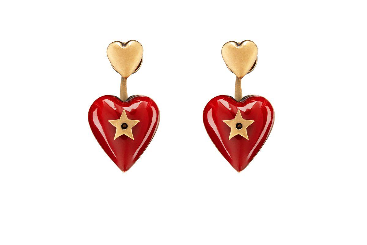 dior heart drop earrings