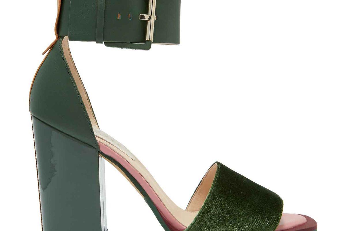 ted baker errita block heel sandals in dark green