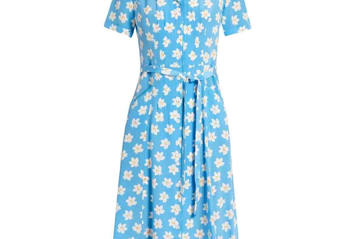 Maria Falling Floral-Print Silk-Crepe Dress
