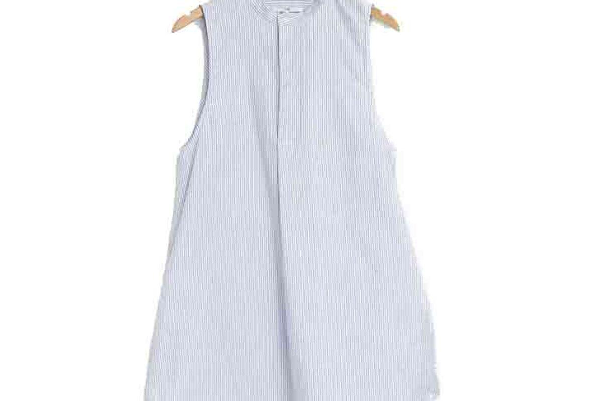 Sleeveless Sleep Shirt Blue Oxford Stripe