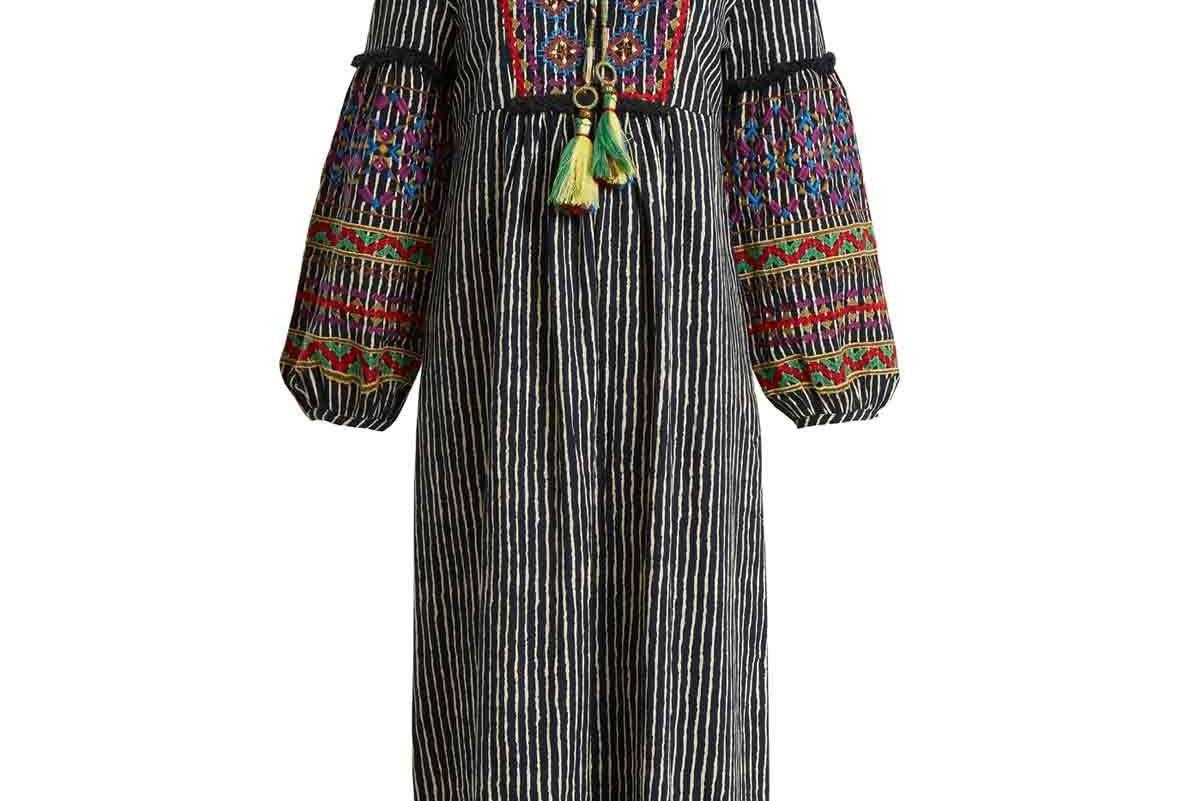 Ilene Embroidered Striped Cotton-Blend Dress