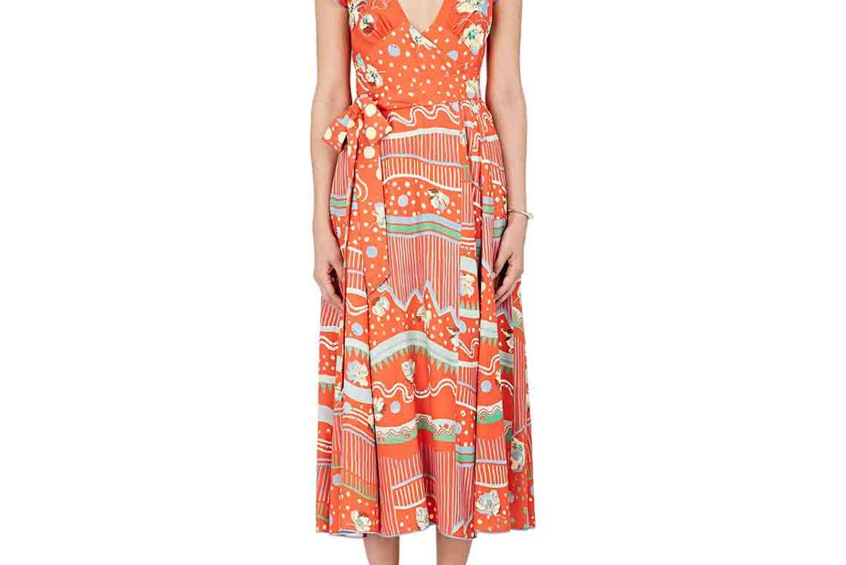 Studded Floral-Print Crepe Wrap Gown